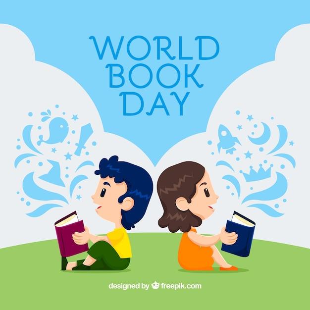 世界の本の日の背景に子供の読書 無料ベクター