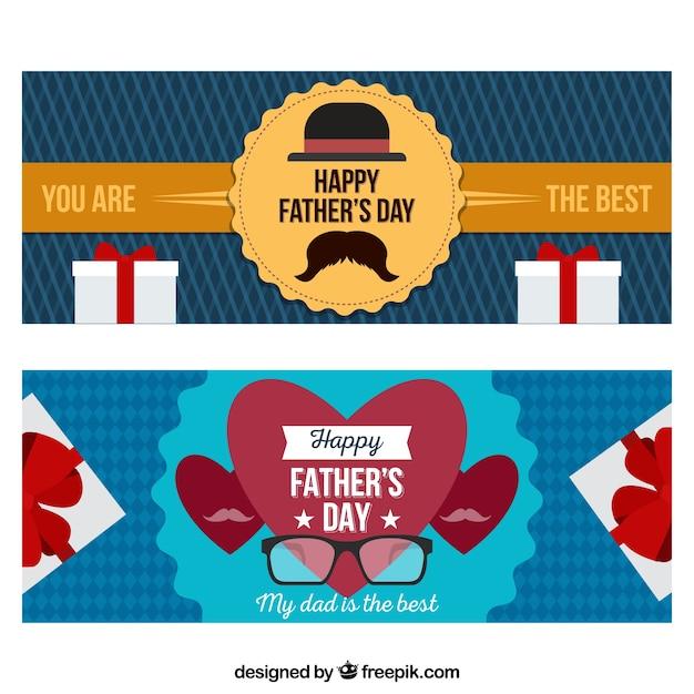 フラットスタイルのギフトボックスと幸せな父の日のバナーのセット 無料ベクター