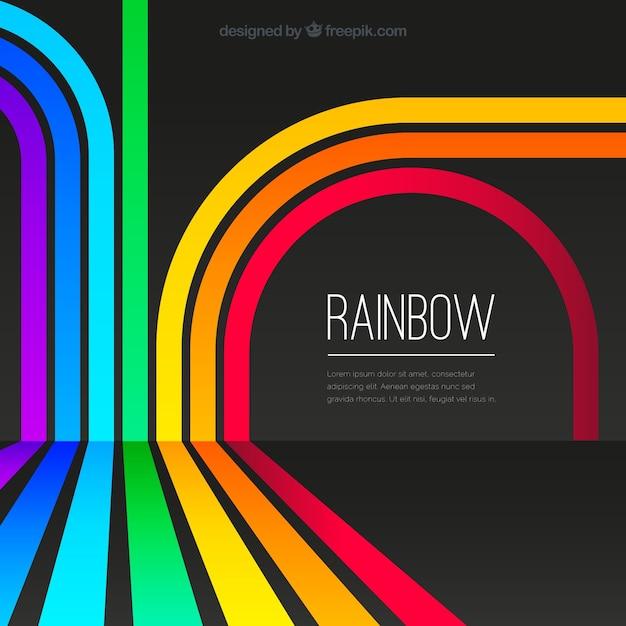 カラフルな虹の背景 無料ベクター