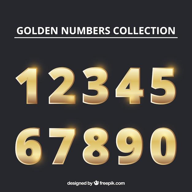 ゴールデンスタイルの数値コレクション 無料ベクター