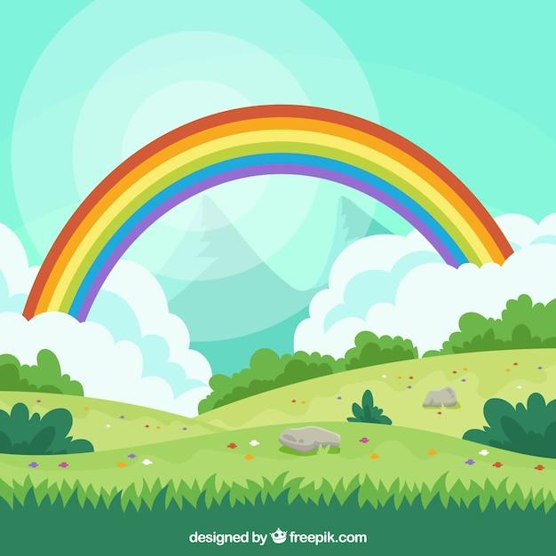 Красочный фон радуги Бесплатные векторы