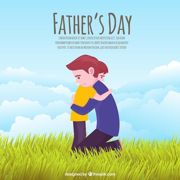 息子を抱擁するお父さんと父の日の背景 無料ベクター