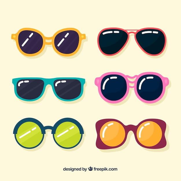 Коллекция сезонных солнцезащитных очков в плоском сале Бесплатные векторы