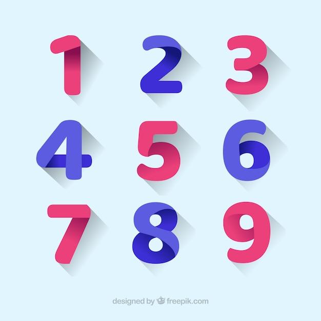 Цветной набор номера с плоским дизайном Бесплатные векторы