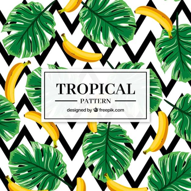 Набор тропических узоров с бананами в плоском стиле Бесплатные векторы