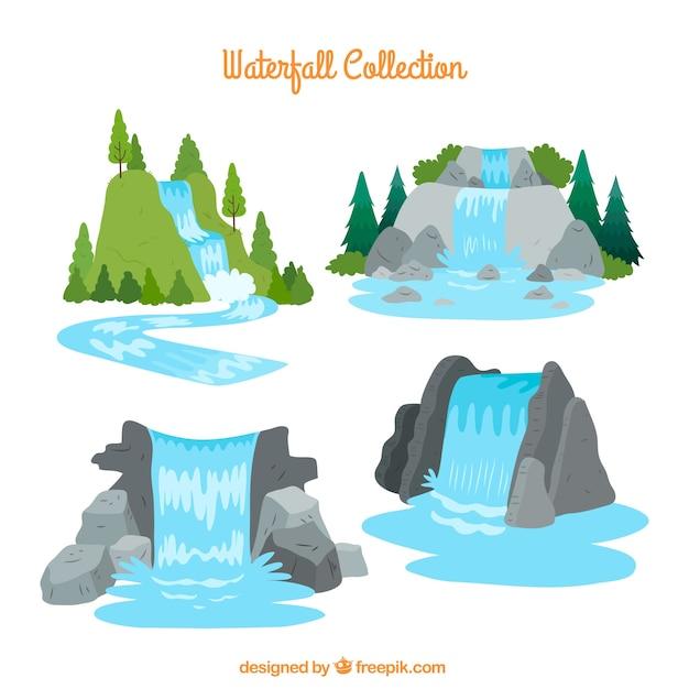 漫画スタイルの滝のコレクション 無料ベクター