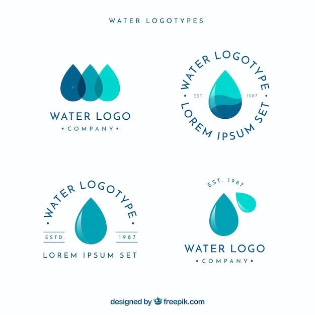 Коллекция водных логотипов для компаний в плоском стиле Бесплатные векторы
