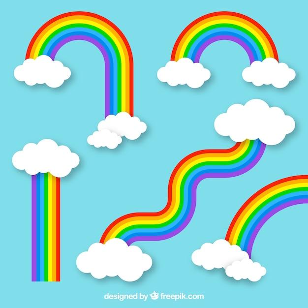 フラットシルエットの異なる形の虹のコレクション 無料ベクター