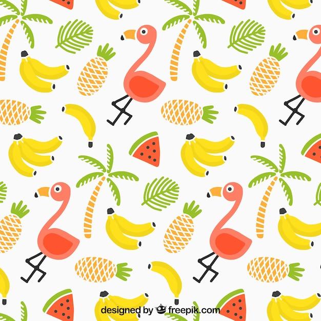Тропический летний узор с фламинго и фруктами Бесплатные векторы