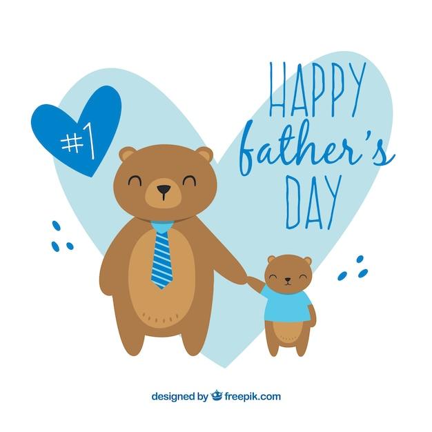かわいいクマの父の日の背景 無料ベクター