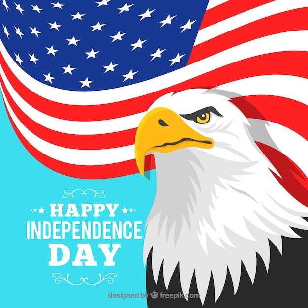 アメリカの独立記念日、旗とワシ 無料ベクター