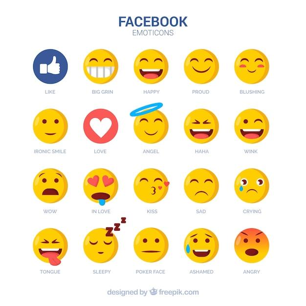 フラットスタイルのフェイスブック絵文字のセット 無料ベクター