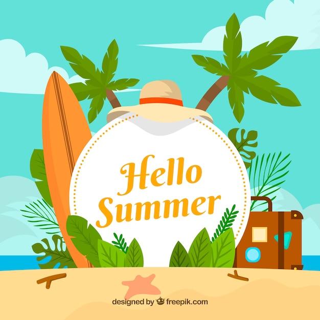 ハロー夏のビーチ要素を持つ背景 無料ベクター