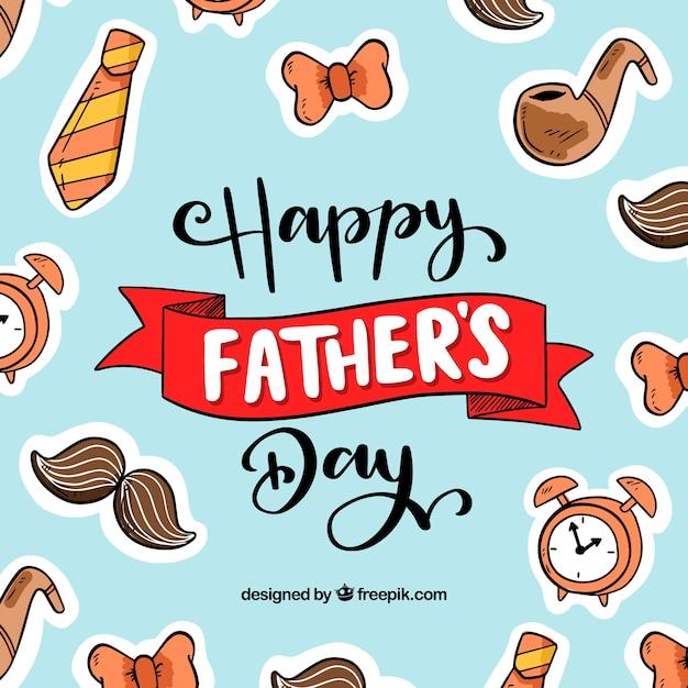 День отца с разными элементами Бесплатные векторы