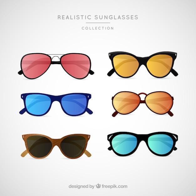 Реалистичная коллекция солнцезащитных очков Бесплатные векторы