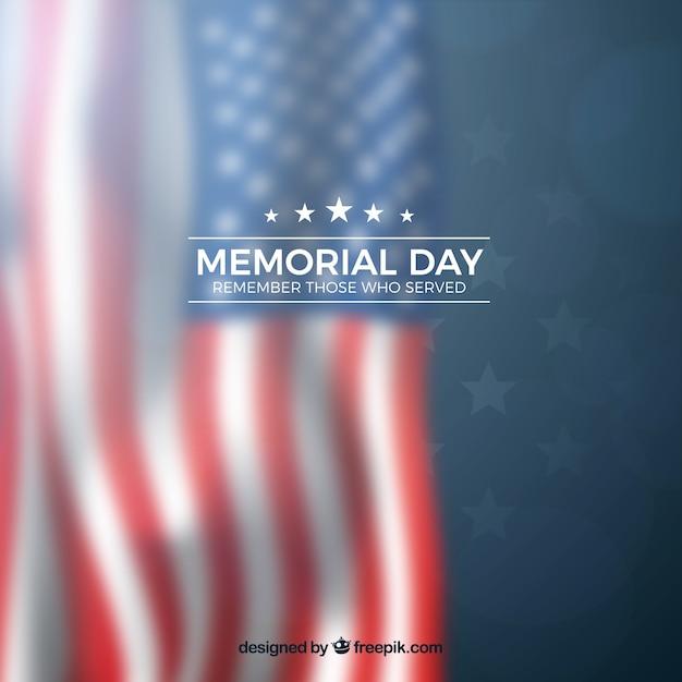 День памяти с размытым американским флагом Бесплатные векторы