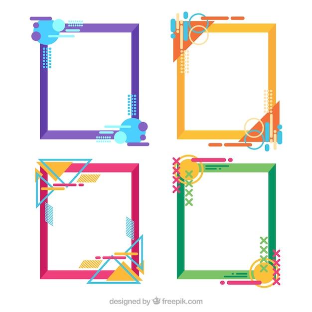 幾何学的なスタイルのカラフルなフレームコレクション 無料ベクター