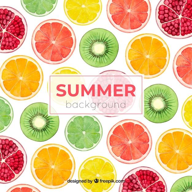 カラフルな夏背景 無料ベクター
