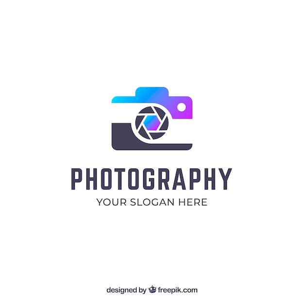 グラデーションカラーの写真ロゴ 無料ベクター
