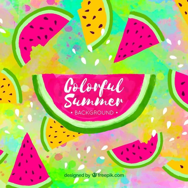 Красочный летний фон с арбузом Бесплатные векторы