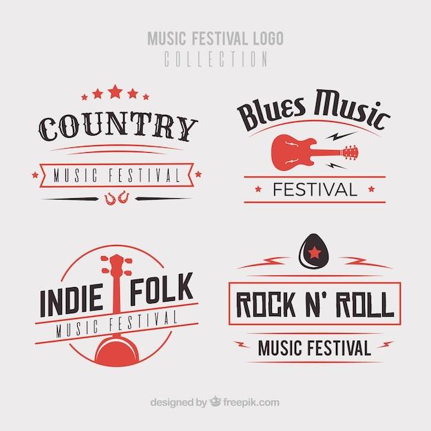 Коллекция логотипа музыкального фестиваля с плоским дизайном Бесплатные векторы