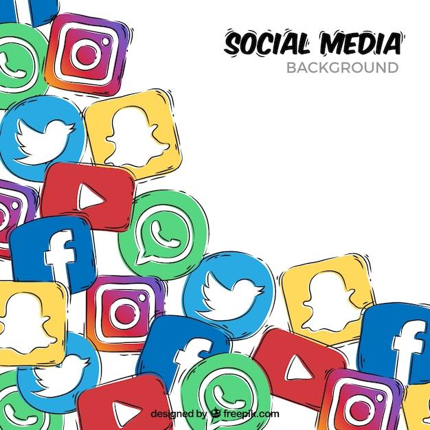 Рисованной фон с иконками в социальных сетях Бесплатные векторы