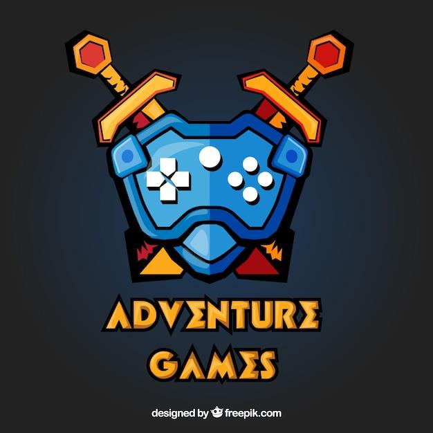 Шаблон логотипа приключенческой видеоигры Бесплатные векторы