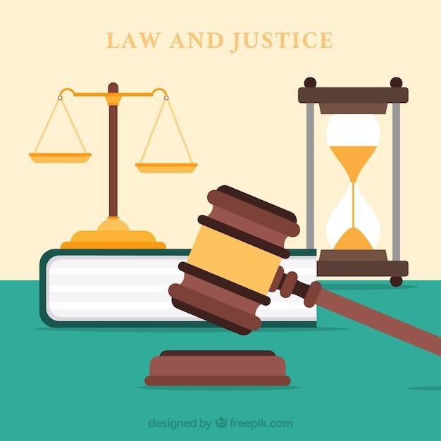 フラットデザインの法と正義概念 無料ベクター