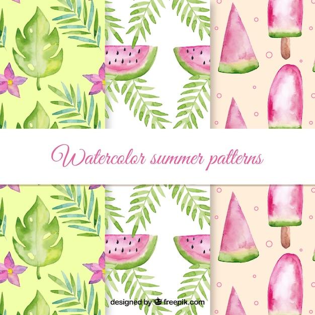 水彩スタイルの夏のパターンコレクション 無料ベクター