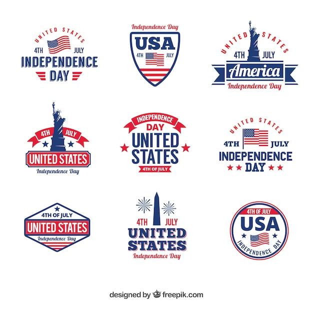 アメリカ独立記念日バッジコレクション 無料ベクター