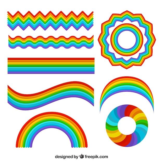 さまざまな形の虹のコレクション 無料ベクター