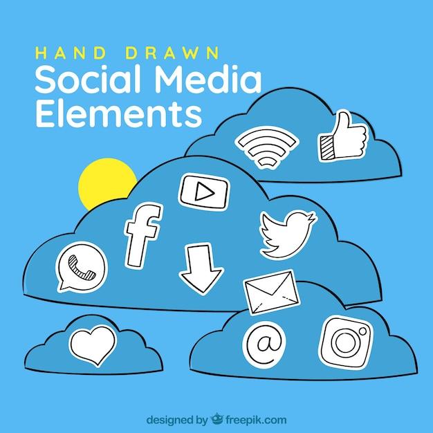 Рисованные элементы социальных сетей в форме облаков Бесплатные векторы