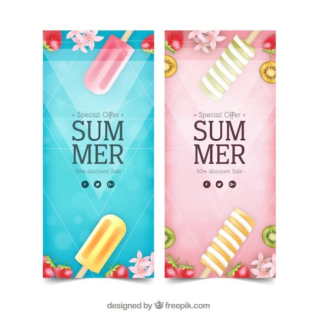 アイスクリーム入りの夏期販売チラシ 無料ベクター