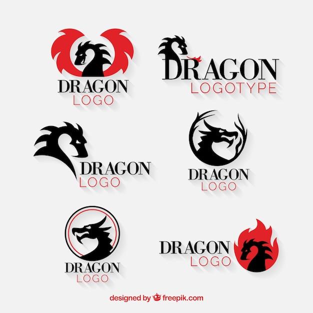 フラットデザインのドラゴンロゴコレクション 無料ベクター