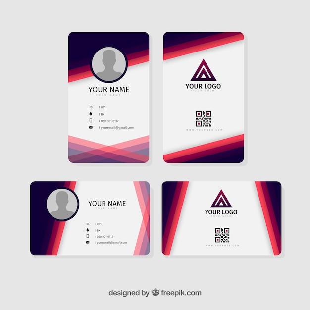 Шаблон идентификационной карточки Бесплатные векторы