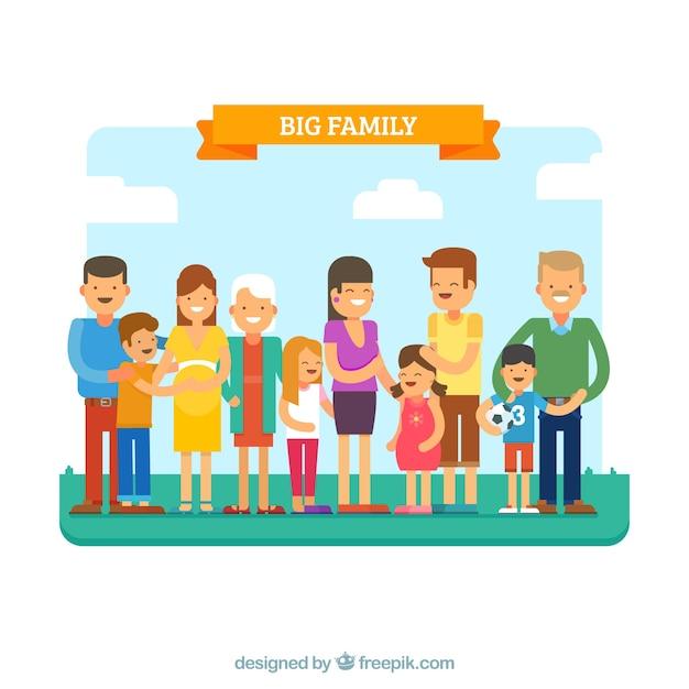 フラットデザインの大きな幸せな家族 無料ベクター
