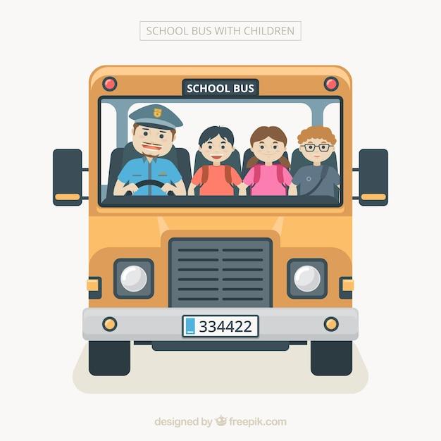 Мультяшный школьный автобус с детьми Бесплатные векторы