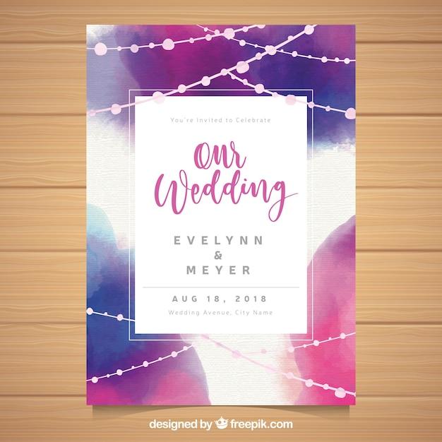 水彩抽象的な結婚式の招待状のテンプレート 無料ベクター