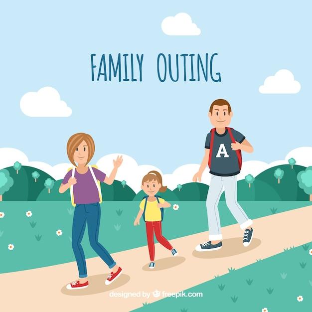 自然の中を歩く幸せな家族 無料ベクター
