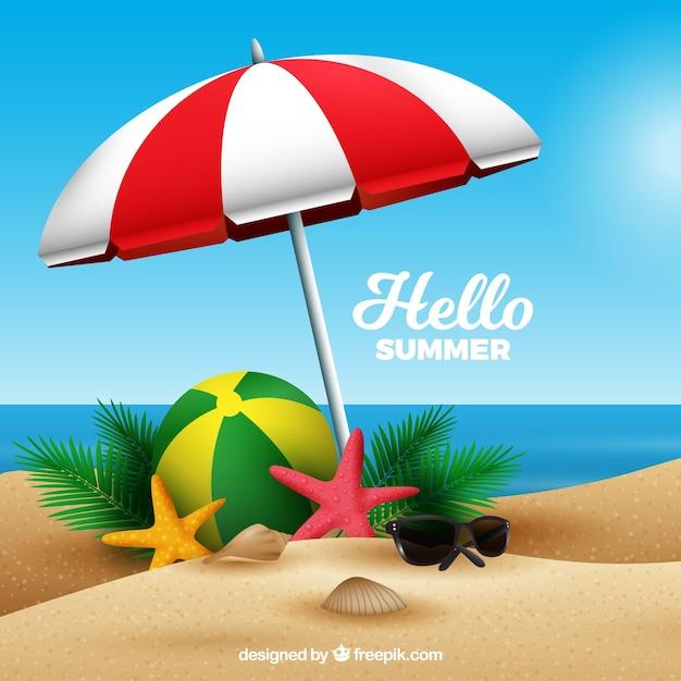 現実的なスタイルのビーチで夏の背景 無料ベクター