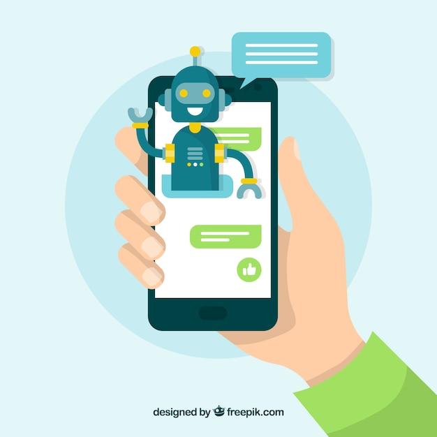 モバイルデバイスとのチャットボットのコンセプト背景 無料ベクター