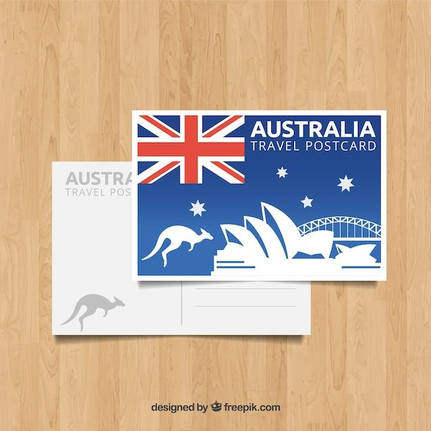 フラットデザインのオーストラリアのはがきテンプレート 無料ベクター