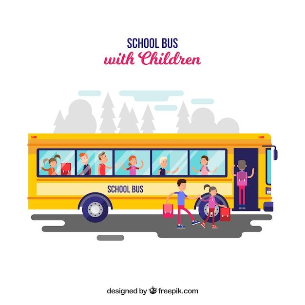 Школьный автобус и дети с плоским дизайном Бесплатные векторы