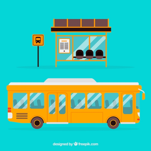 Городской автобус и автобусная остановка с плоским дизайном Бесплатные векторы