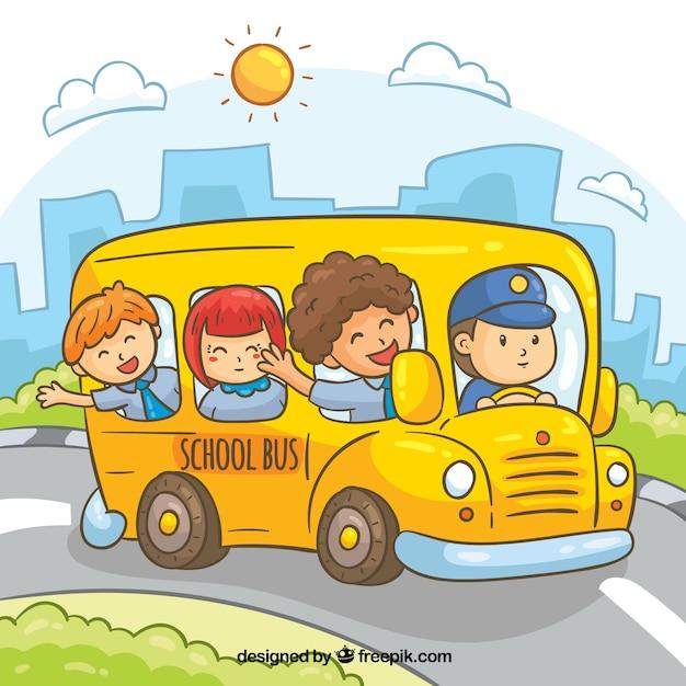 Детская картинка дети едут в автобусе