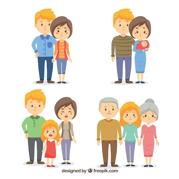 異なるライフステージの手描きの家族 無料ベクター