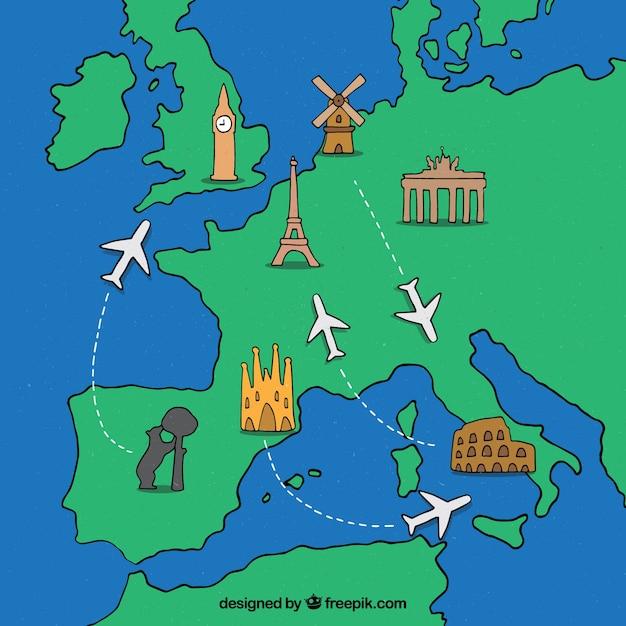 旅行の要素が描かれた手描きの地図 無料ベクター