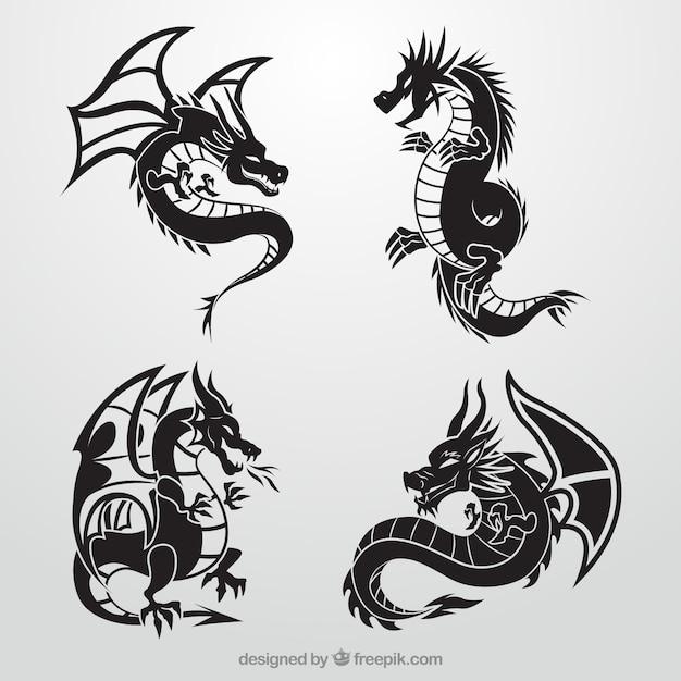 黒のドラゴンズコレクション 無料ベクター