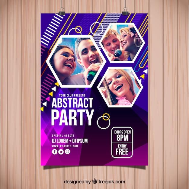 写真付きの抽象的なパーティーポスターテンプレート 無料ベクター