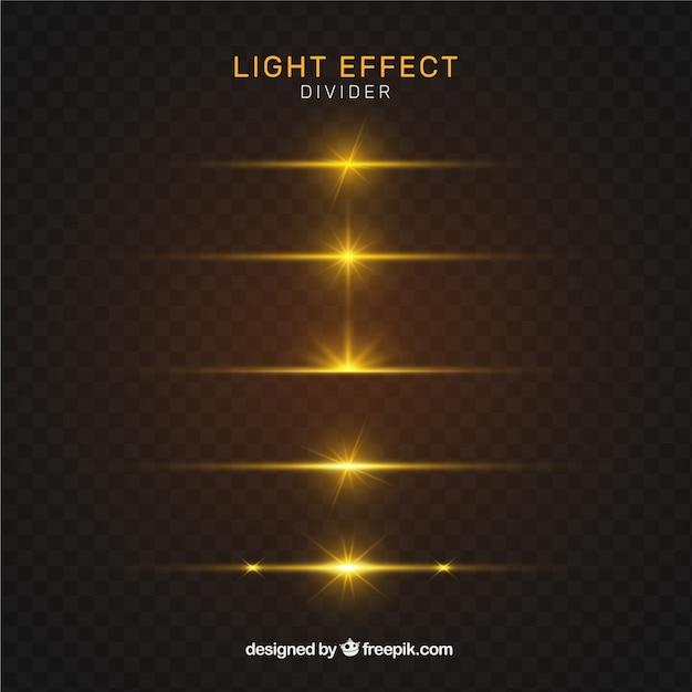 金色の照明効果を持つディバイダーコレクション 無料ベクター